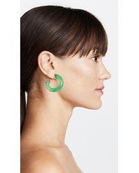 Kenneth Jay Lane - Green Polished Gold Ends Hoop Earrings - Lyst