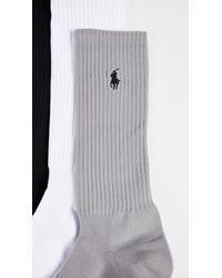 Polo Ralph Lauren Black 3 Pack Tech Athletic Crew Socks
