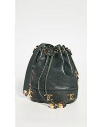 Chanel Green Caviar Cc Bucket Bag