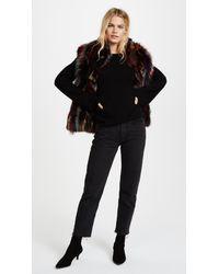 Adrienne Landau Black Multi Fox Vest