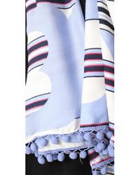Tory Burch - Blue Via Stripe Logo Oblong Scarf - Lyst