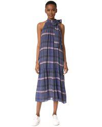 Apiece Apart Blue Solazure Tie Neck Dress