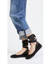 Yosi Samra Black Stella Tie Ballet Flats