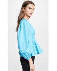Staud Blue Luna Peplum-hem Cotton-blend Top