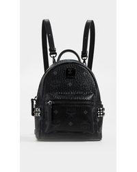 MCM Black Baby Stark Studded Coated Canvas Backpack