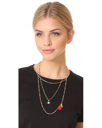 Rebecca Minkoff - Metallic Layered Seed Bead Collar Necklace - Lyst