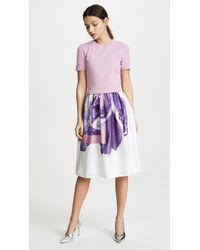 Ferragamo - Purple Flower Photo Print Dress - Lyst