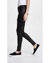 Alice + Olivia Black Zip Front Leather Leggings