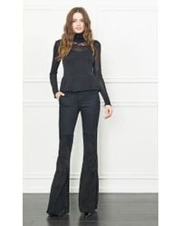Rachel Zoe | Black Marge Lace-paneled Pleated Top | Lyst