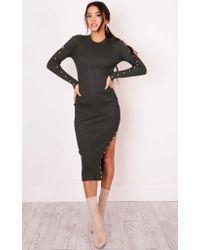 Showpo | Black Pastel Wallpaper Knit Dress In Khaki | Lyst