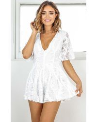 Showpo - Champagne For Breakfast Playsuit In White Sequin - Lyst