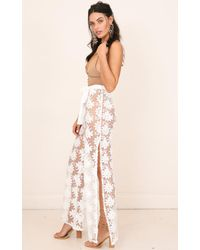 Showpo - Flying Free Pants In White Lace - Lyst