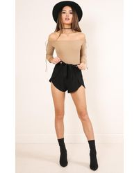 Showpo - Natural Madly Bodysuit In Camel - Lyst