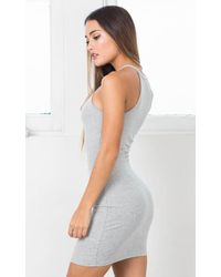 Showpo - Gray Take The High Road Dress In Grey - Lyst