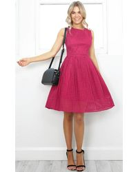 Showpo - Pink Electric Love Dress In Wine Lace - Lyst