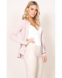 Showpo | Pink At The Top Knit Blazer In Blush | Lyst