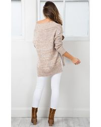 Showpo - Natural With Conviction Knit In Mocha Marle - Lyst
