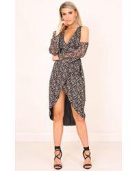 Showpo - Take Me Through Dress In Black Floral - Lyst
