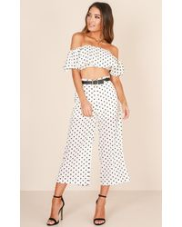 Showpo - Turning Back Time Two Piece Set In White Print - Lyst