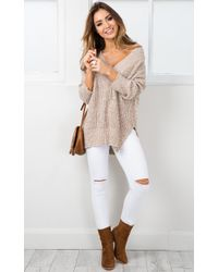 Showpo | Natural With Conviction Knit In Mocha Marle | Lyst
