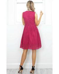 Showpo - Pink Electric Love Dress In Wine Lace - Lyst