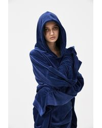 Paula Knorr Dark Blue Soft Sleeve Dress Hoodie