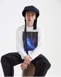 Raf Simons Blue Double Cap With Long Straps for men