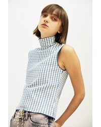 i-am-chen Blue Sleeveless Grid Top