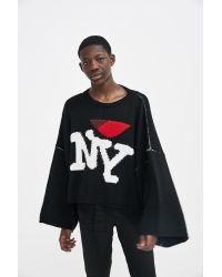 Lyst Raf Simons Oversized Ny Knitted Sweater In Black