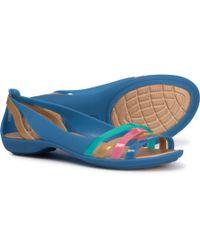 Crocs™ Isabella Huarache 2 Flat (blue Jean/gold) Flat Shoes