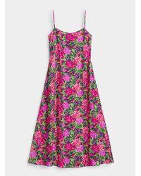 Marit Ilison Pink Floral Painting Slip Dress