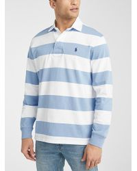 Polo Ralph Lauren Steel Blue Stripe Rugby Polo for men