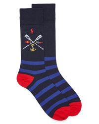 Polo Ralph Lauren Blue Crest And Stripe Socks for men