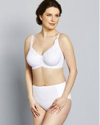 Simply Be - White Naturally Close Iris Embroidered Cotton Comfort Full Cup Bra - Lyst