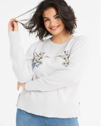 Oasis - Gray Curve Kissing Bird Jumper - Lyst