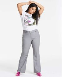 Simply Be Gray Workwear Bootcut Trousers Long