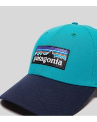 Patagonia Blue P-6 Logo Curved Cap for men