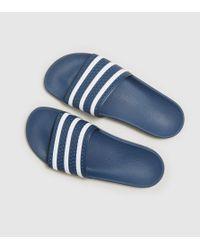 Adidas Originals - Blue Adilette Slides - Lyst