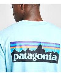 Patagonia Blue P6 Logo Pocket T-shirt for men
