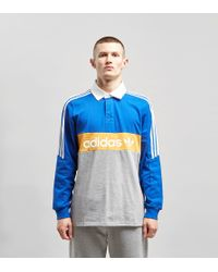 c393bdbb20e adidas Originals Heritage Long Sleeve Rugby Polo Shirt in Blue for ...