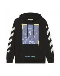Off-White c/o Virgil Abloh Black Diagonal Caravaggio Hooded Sweatshirt for men