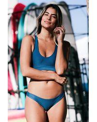 Acacia Swimwear Blue 2018 Kailua Mesh Top In Salt Water