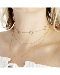 Sole Society - Metallic Plated Dainty Circle Choker - Lyst