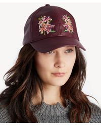 Sole Society Multicolor Faux Leather Embroidery Baseball Cap