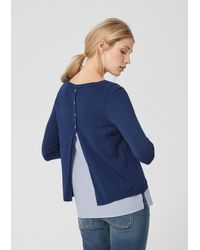 S.oliver Blue Pullover im 2-in-1-Look