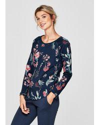 S.oliver Blue Pyjama-Shirt mit Mesh-Details