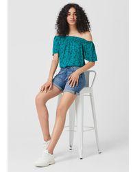 Q/S designed by Green Off Shoulder-Bluse mit Palmen-Print