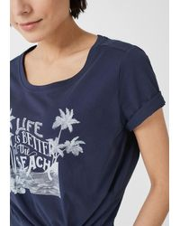 S.oliver Blue Jerseyshirt mit Frontprint