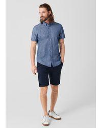 s.Oliver BLACK LABEL Slim: Hemd aus Leinen-Blend in Blue für Herren