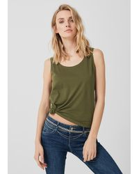S.oliver Green Jerseytop mit Cross-Detail